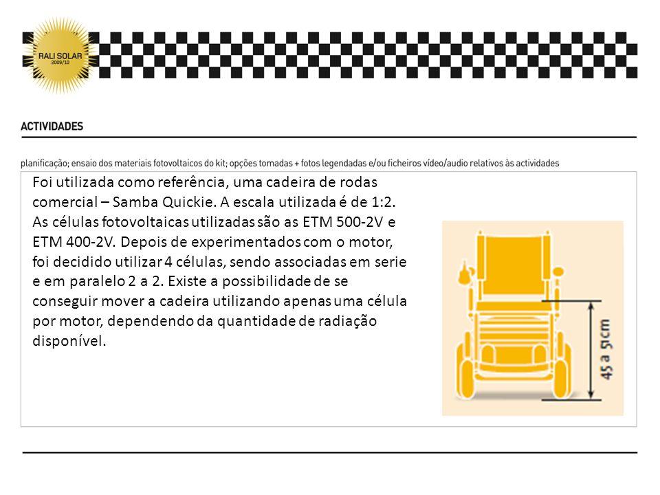 Foi utilizada como referência, uma cadeira de rodas comercial – Samba Quickie. A escala utilizada é de 1:2.