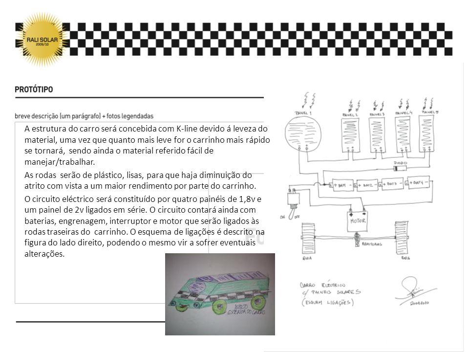 A estrutura do carro será concebida com K-line devido á leveza do material, uma vez que quanto mais leve for o carrinho mais rápido se tornará, sendo ainda o material referido fácil de manejar/trabalhar.