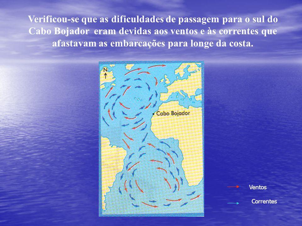 Verificou-se que as dificuldades de passagem para o sul do Cabo Bojador eram devidas aos ventos e às correntes que afastavam as embarcações para longe da costa.