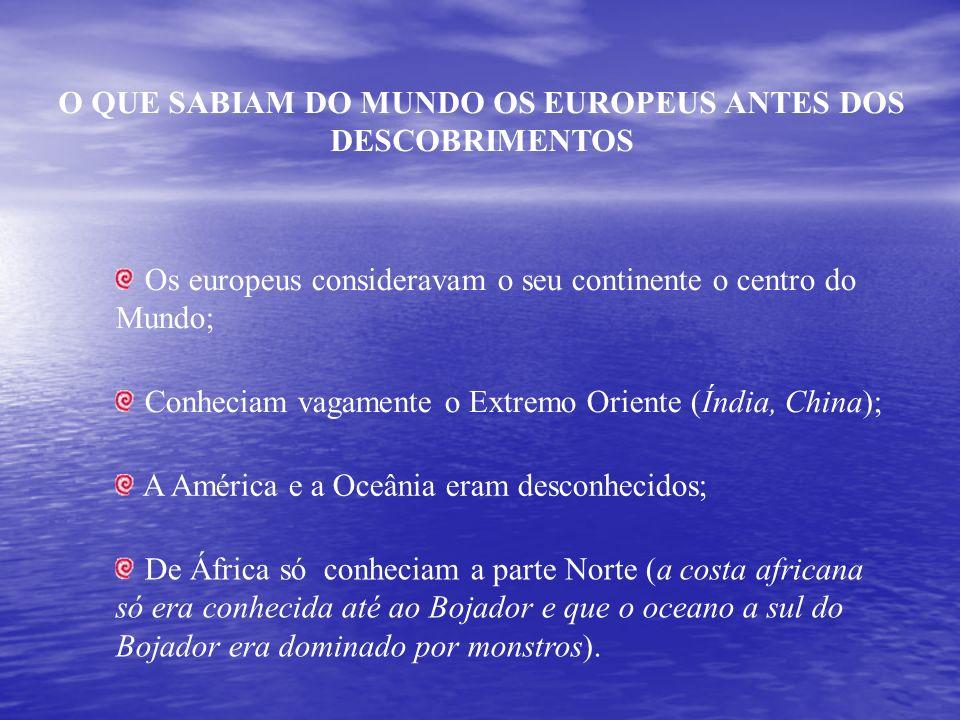 O QUE SABIAM DO MUNDO OS EUROPEUS ANTES DOS DESCOBRIMENTOS