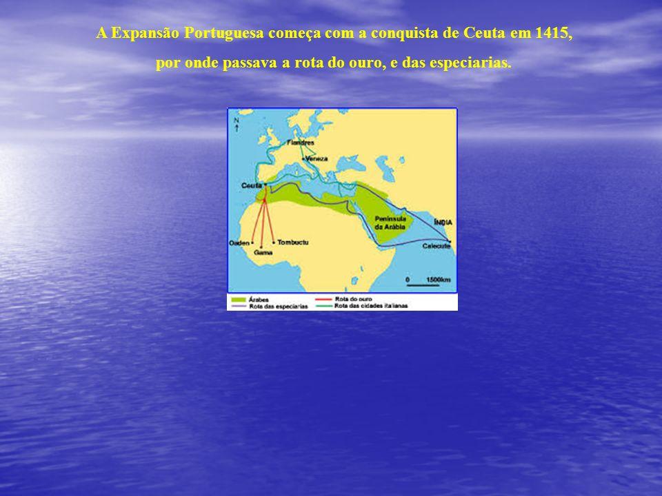 A Expansão Portuguesa começa com a conquista de Ceuta em 1415,