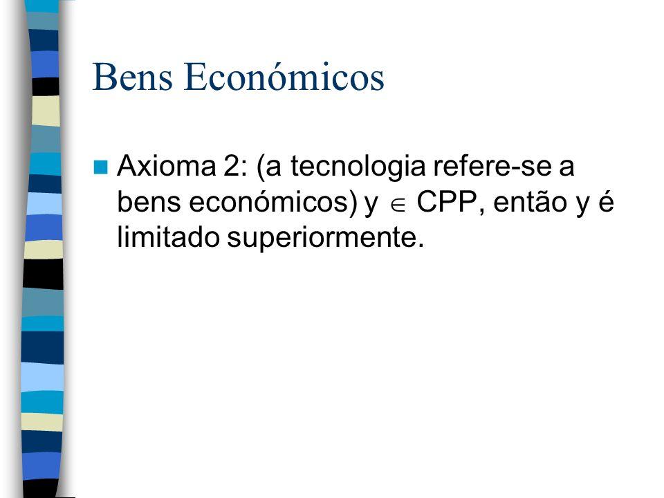 Bens EconómicosAxioma 2: (a tecnologia refere-se a bens económicos) y  CPP, então y é limitado superiormente.