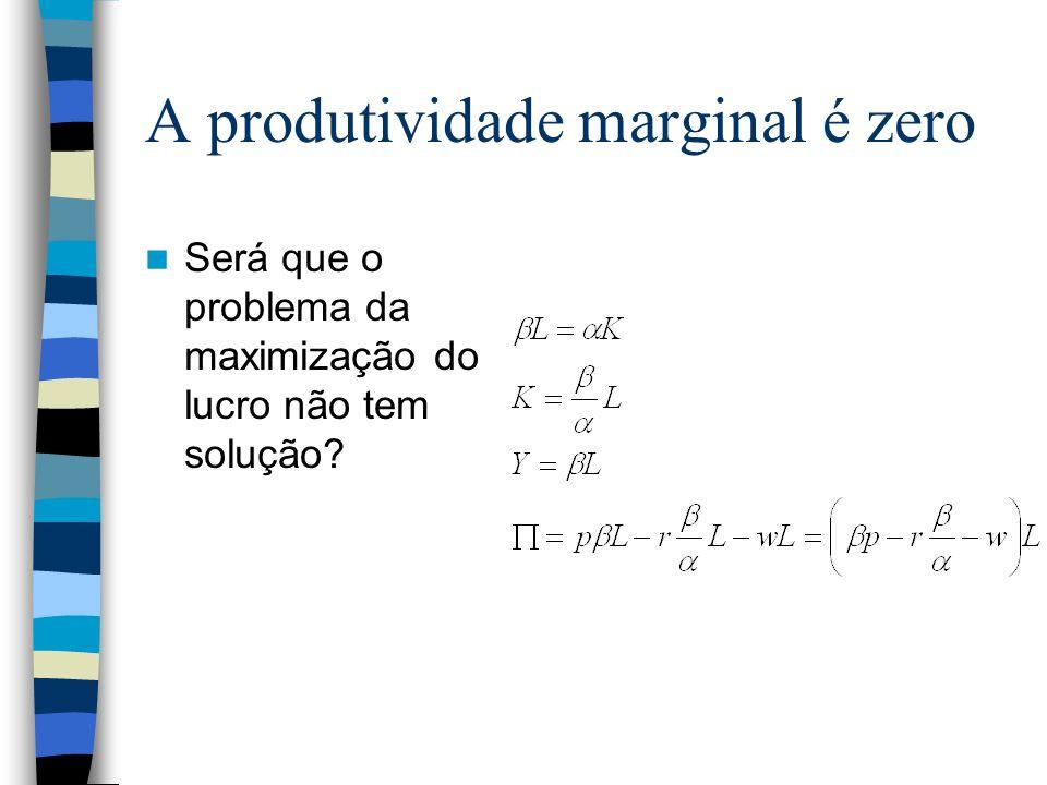 A produtividade marginal é zero