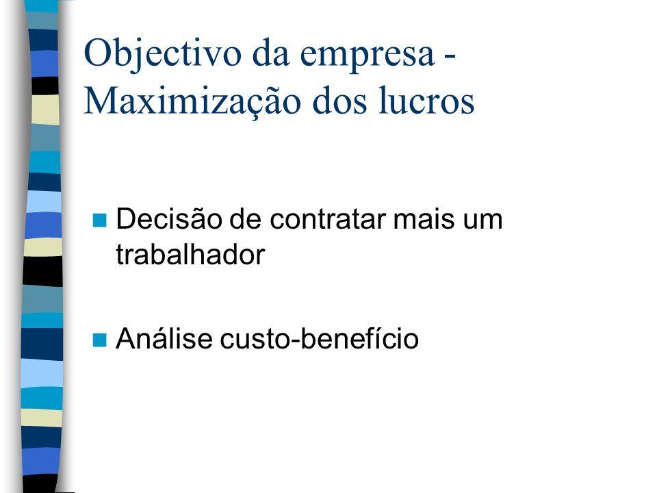 Objectivo da empresa -Maximização dos lucros