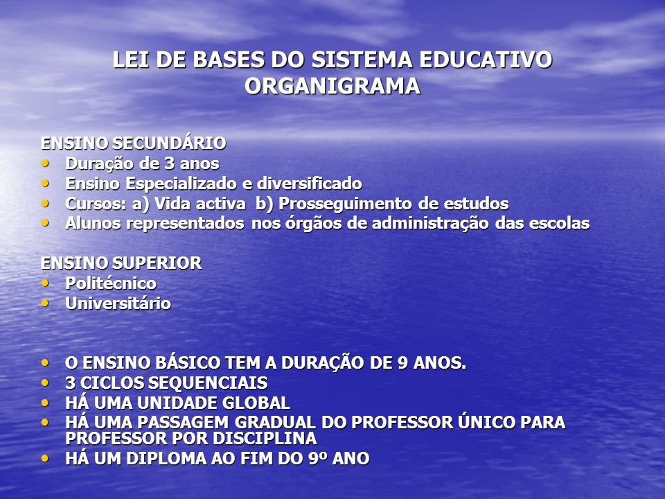 LEI DE BASES DO SISTEMA EDUCATIVO ORGANIGRAMA