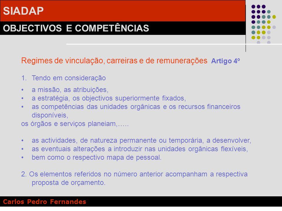 Regimes de vinculação, carreiras e de remunerações Artigo 4º