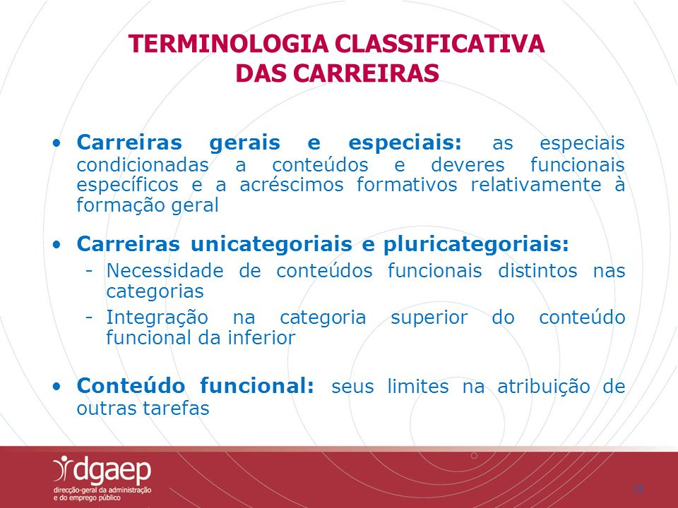 TERMINOLOGIA CLASSIFICATIVA DAS CARREIRAS
