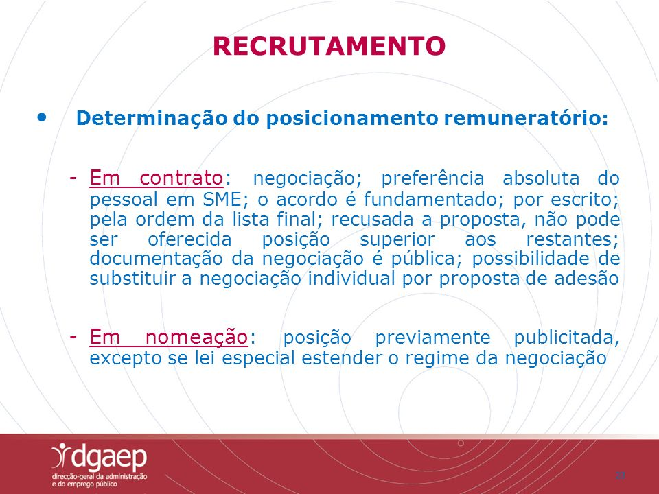 Determinação do posicionamento remuneratório: