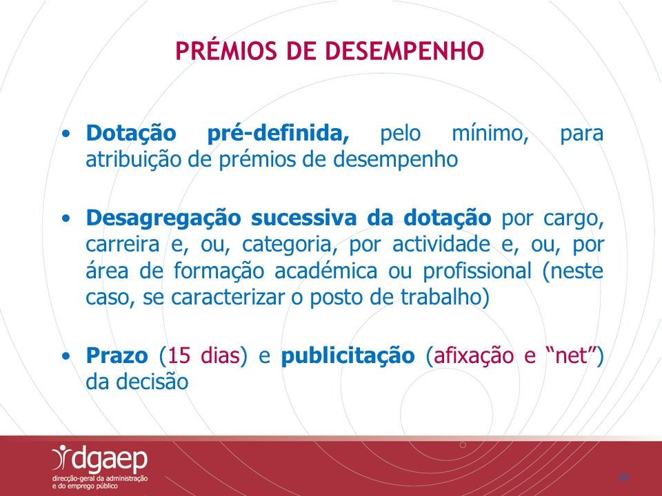 PRÉMIOS DE DESEMPENHO Dotação pré-definida, pelo mínimo, para atribuição de prémios de desempenho.
