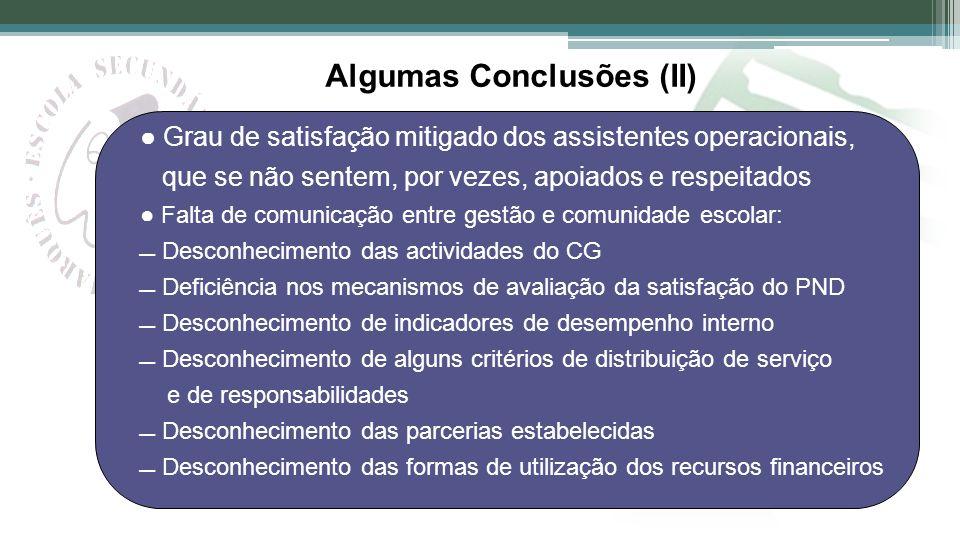 Algumas Conclusões (II)