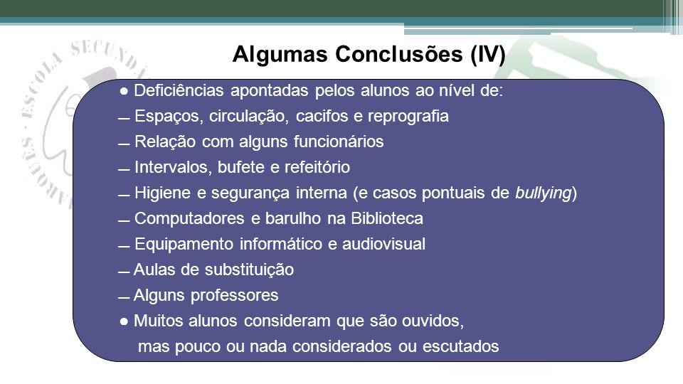 Algumas Conclusões (IV)