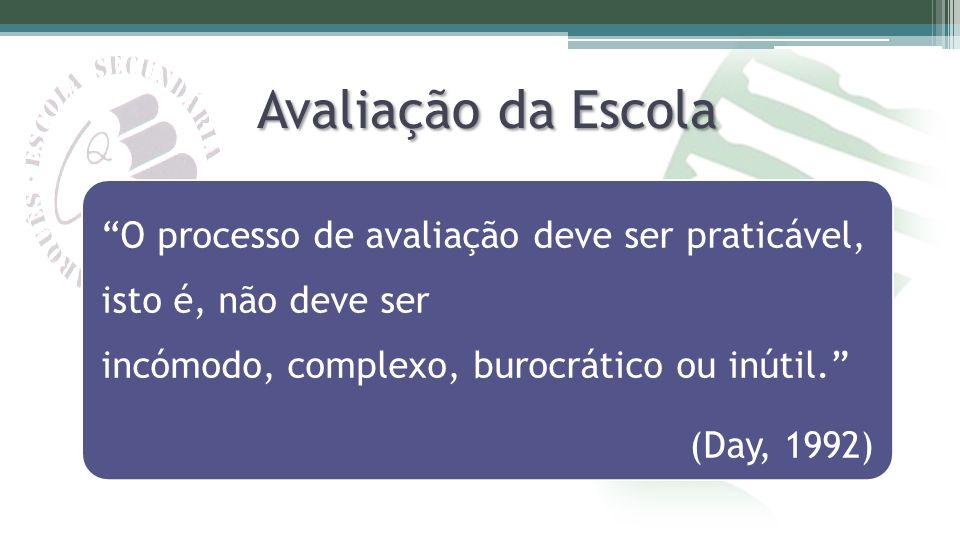 Avaliação da Escola O processo de avaliação deve ser praticável, isto é, não deve ser incómodo, complexo, burocrático ou inútil.