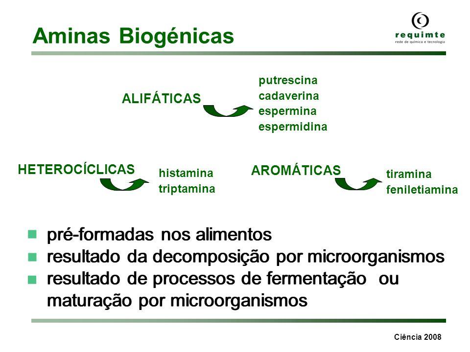 Aminas Biogénicas ■ pré-formadas nos alimentos