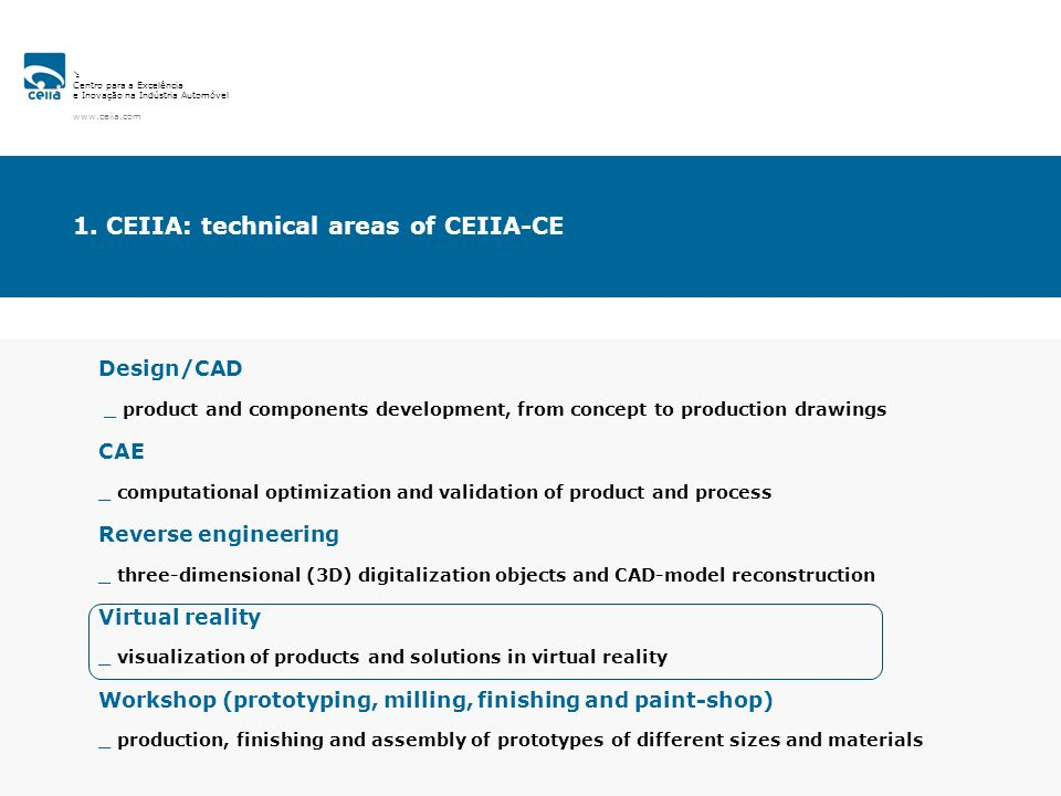 1. CEIIA: technical areas of CEIIA-CE