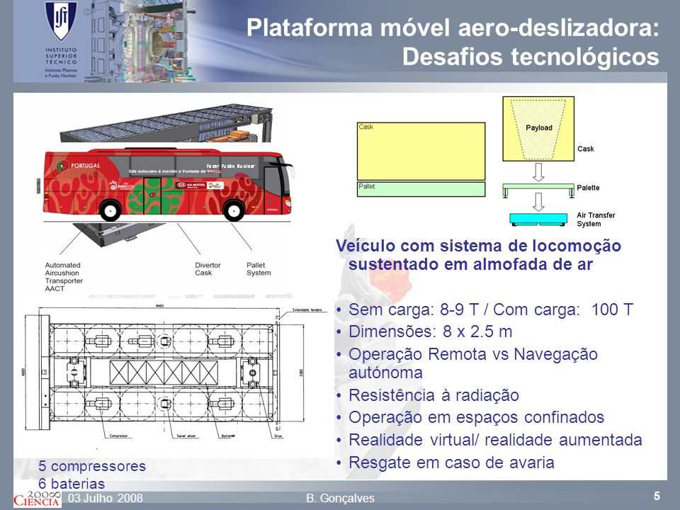 Plataforma móvel aero-deslizadora: Desafios tecnológicos