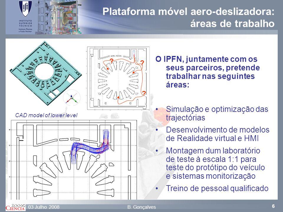 Plataforma móvel aero-deslizadora: áreas de trabalho