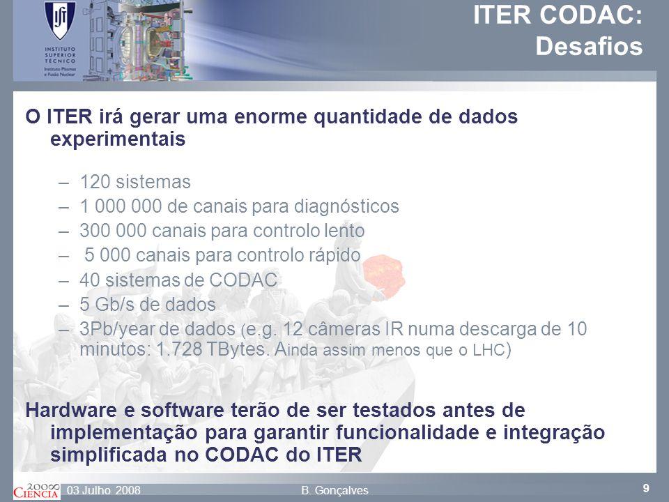 ITER CODAC: Desafios O ITER irá gerar uma enorme quantidade de dados experimentais. 120 sistemas. 1 000 000 de canais para diagnósticos.