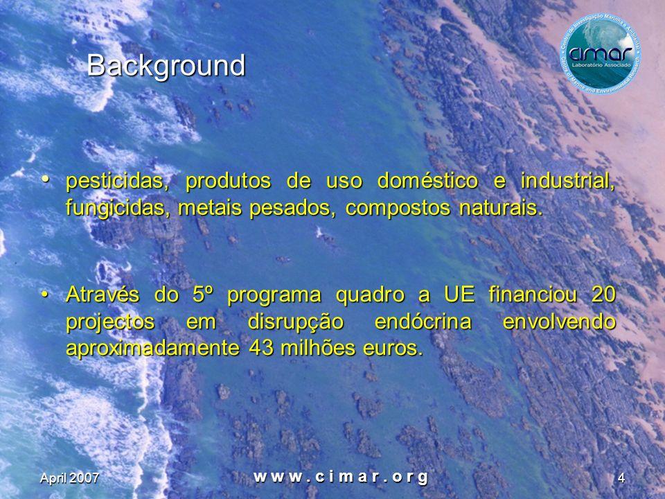 Background pesticidas, produtos de uso doméstico e industrial, fungicidas, metais pesados, compostos naturais.