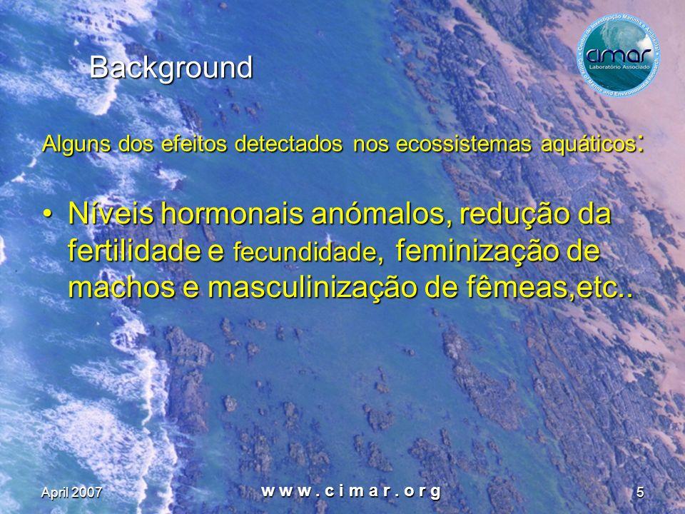 Background Alguns dos efeitos detectados nos ecossistemas aquáticos: