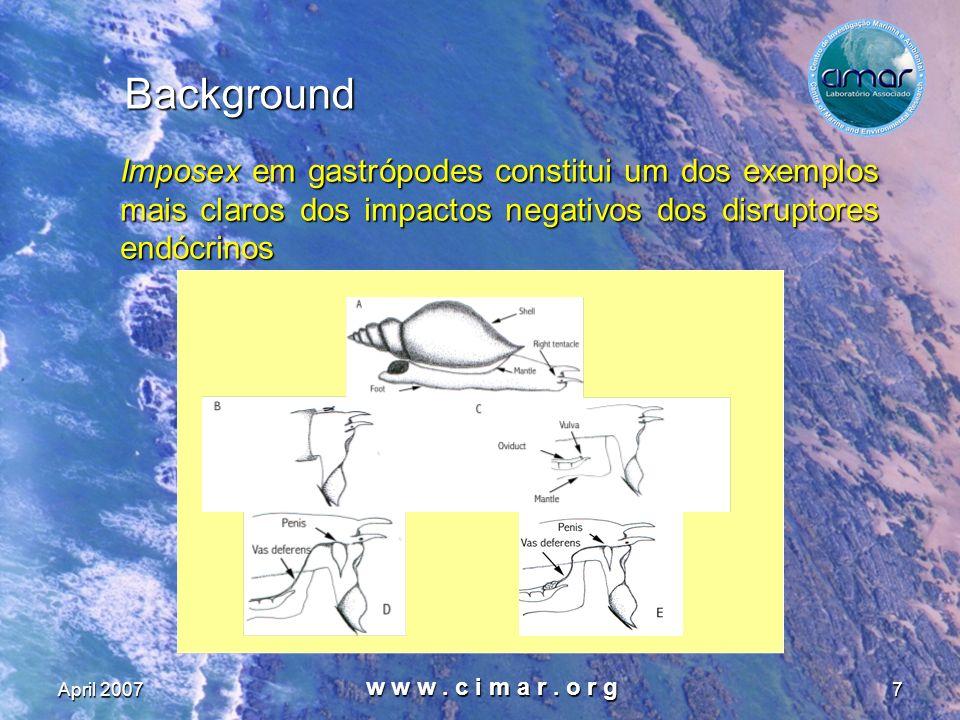 Background Imposex em gastrópodes constitui um dos exemplos mais claros dos impactos negativos dos disruptores endócrinos.