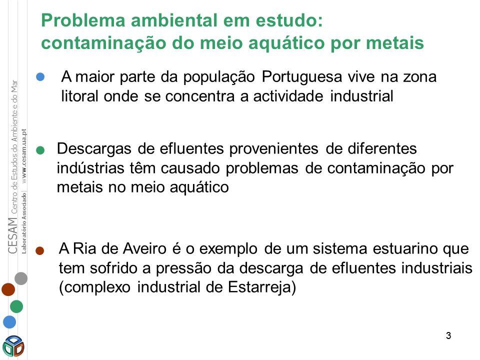Problema ambiental em estudo: contaminação do meio aquático por metais