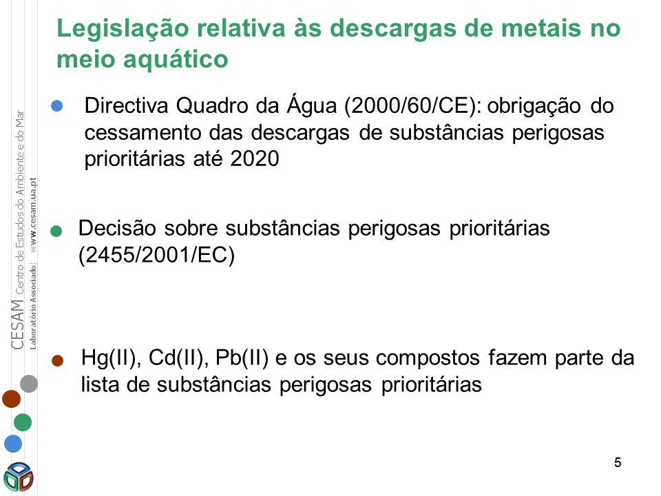 Legislação relativa às descargas de metais no meio aquático