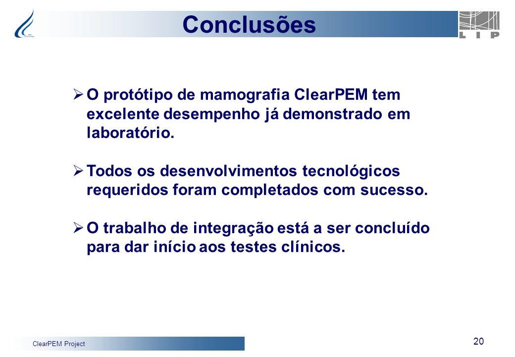 Conclusões O protótipo de mamografia ClearPEM tem excelente desempenho já demonstrado em laboratório.