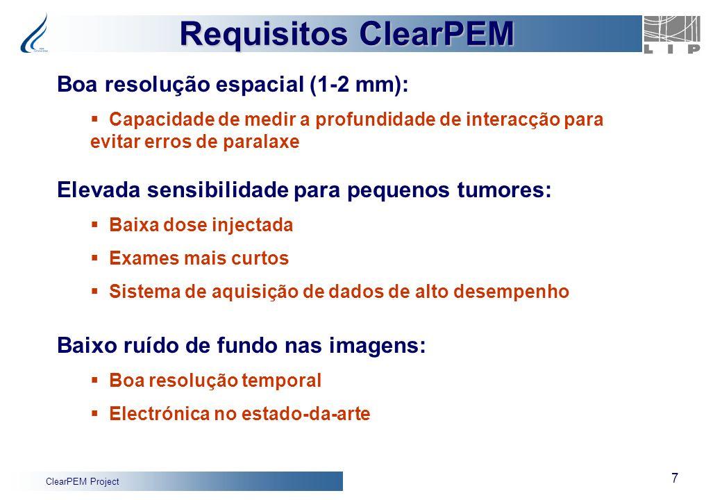 Requisitos ClearPEM Boa resolução espacial (1-2 mm):