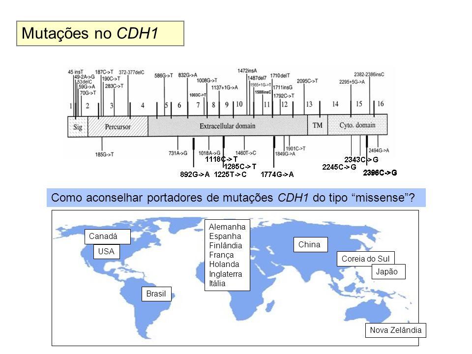 Mutações no CDH1 2396C->G. Como aconselhar portadores de mutações CDH1 do tipo missense Alemanha.