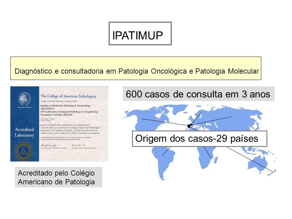 IPATIMUP 600 casos de consulta em 3 anos Origem dos casos-29 países