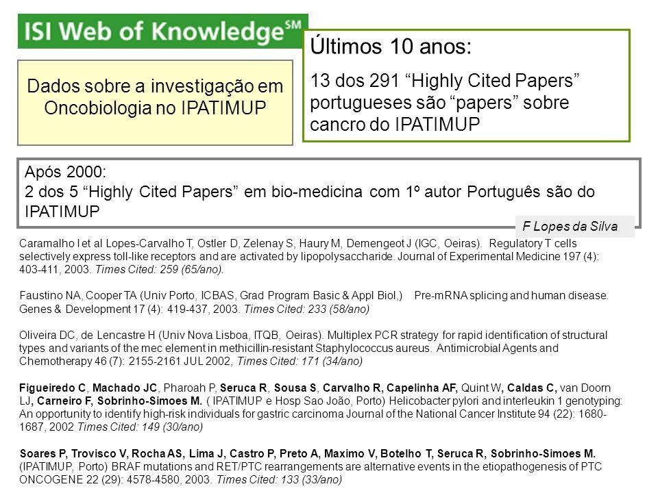 Dados sobre a investigação em Oncobiologia no IPATIMUP