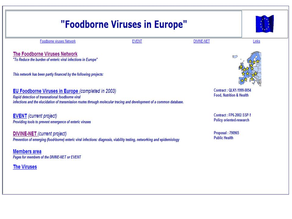 EVENT = Food- and waterborne transmission play an important role in the spread of norovirus (NV, previously named Norwalk-like viruses) throughout Europe. NV are ubiquitous, highly contagious, and cause large international outbreaks of gastroenteritis. This is of concern: current quality control for food and water in Europe measures bacterial contamination, and does not monitor viral contamination. Therefore, food can pass microbiological quality control, but still contain viruses. Matched with the virtual absence of a surveillance system for detection of common-source outbreaks of illness due to enteric viruses, this highlights a weak spot in European infectious disease control. The NV in fact serve as sentinels: when present, common-source outbreaks will relatively easily be detected due to the high attack rate and short incubation period. More insidious, however, are the enteroviruses and fecally-transmitted hepatitis viruses with a high proportion of asymptomatic infection after an incubation period of up to 2 months. These viruses cause illnesses like hepatitis (hepatitis A and E viruses) and infections of the central nervous system (enteroviruses). Signaling common source outbreaks with these viruses is virtually impossible without a strong (molecular) laboratory component to underpin the epidemiological investigations, aided by international exchange of laboratory data.