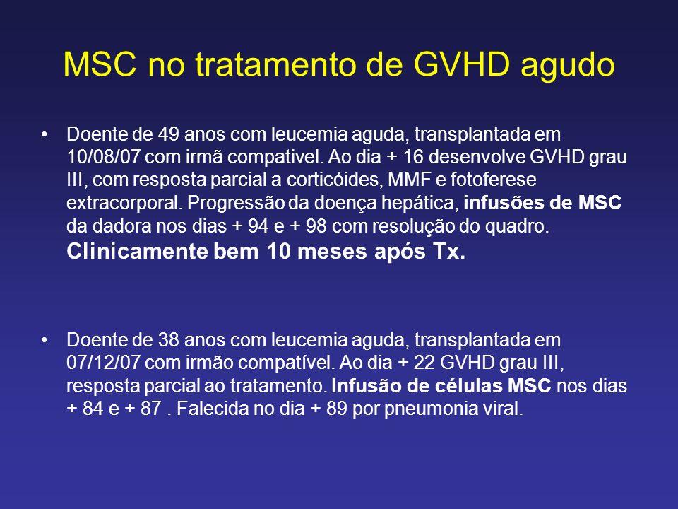 MSC no tratamento de GVHD agudo