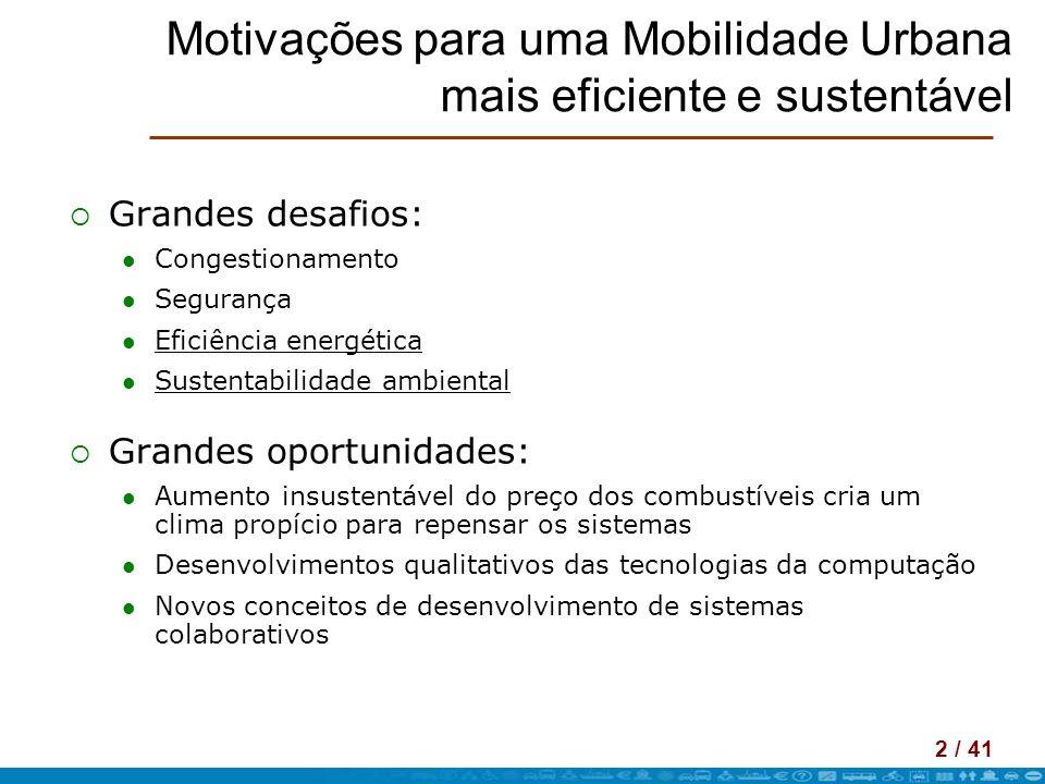 Motivações para uma Mobilidade Urbana mais eficiente e sustentável