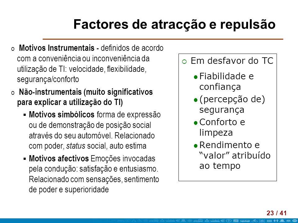 Factores de atracção e repulsão