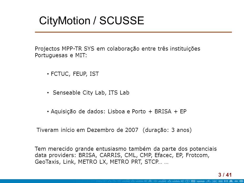 CityMotion / SCUSSE Projectos MPP-TR SYS em colaboração entre três instituições Portuguesas e MIT: