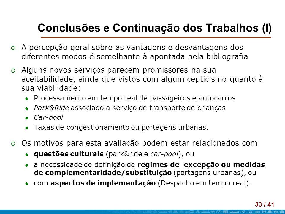 Conclusões e Continuação dos Trabalhos (I)