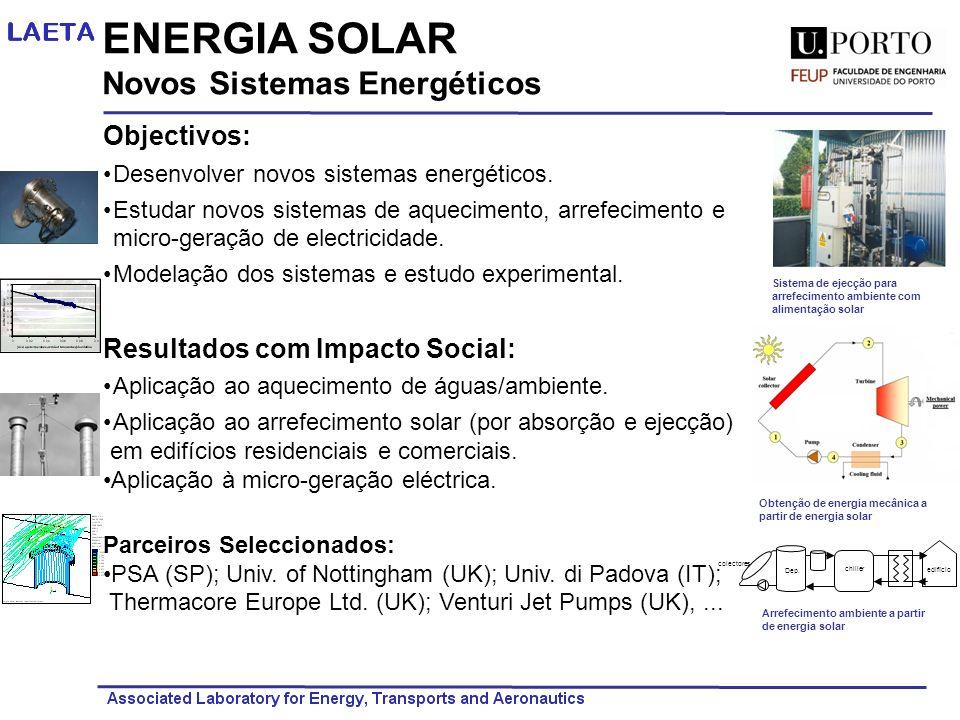 ENERGIA SOLAR Novos Sistemas Energéticos Objectivos: