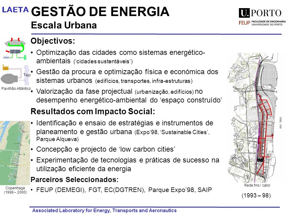 GESTÃO DE ENERGIA Escala Urbana Objectivos: