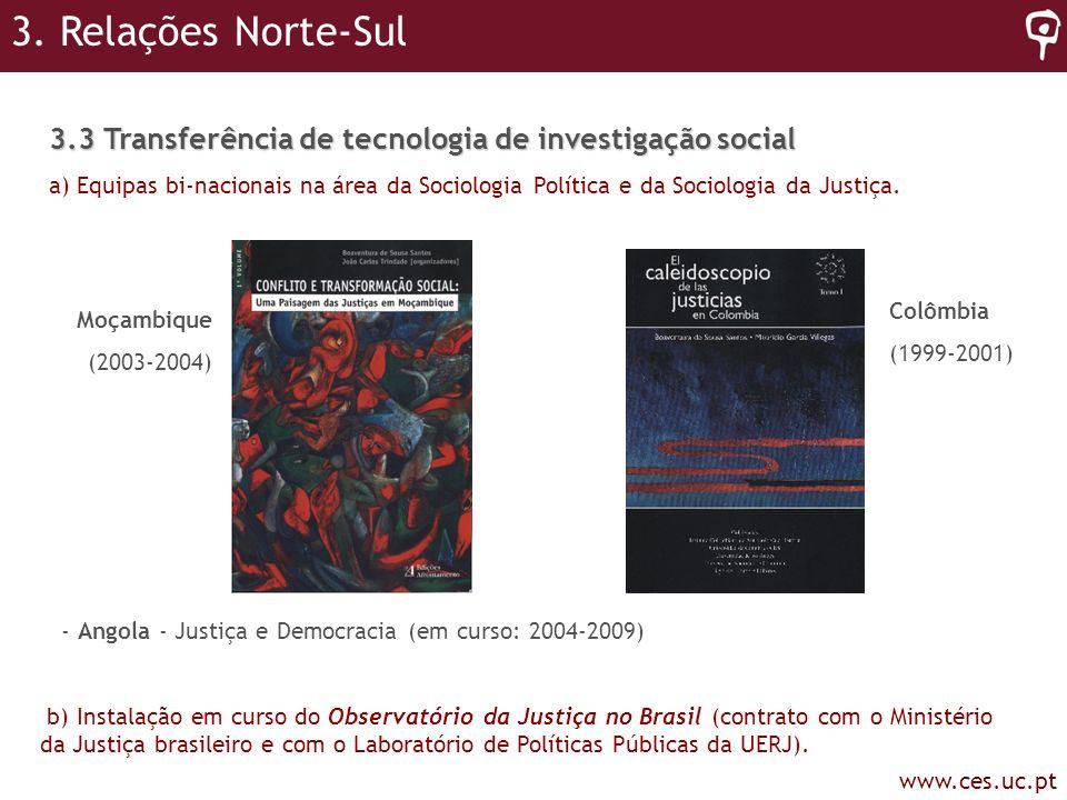 3. Relações Norte-Sul 3.3 Transferência de tecnologia de investigação social.