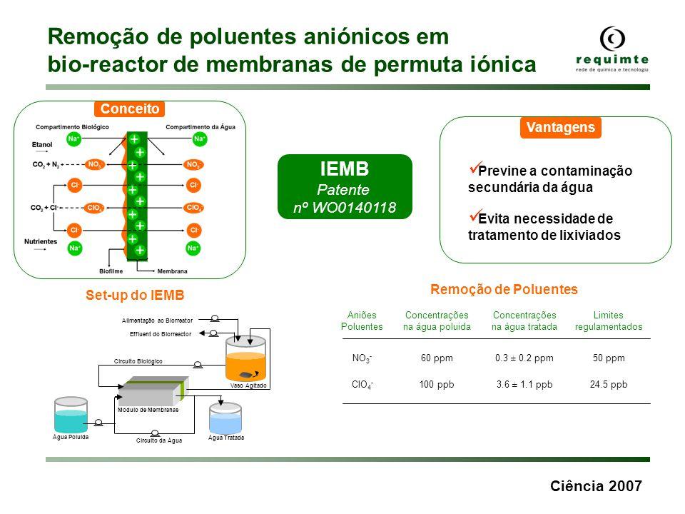 Remoção de poluentes aniónicos em bio-reactor de membranas de permuta iónica