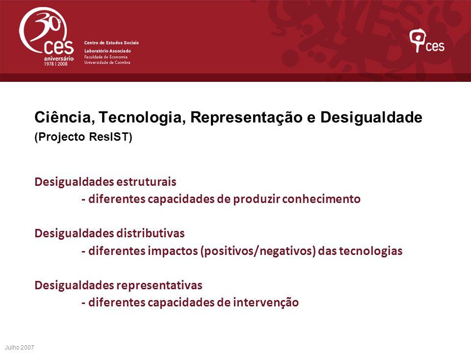 Ciência, Tecnologia, Representação e Desigualdade (Projecto ResIST)