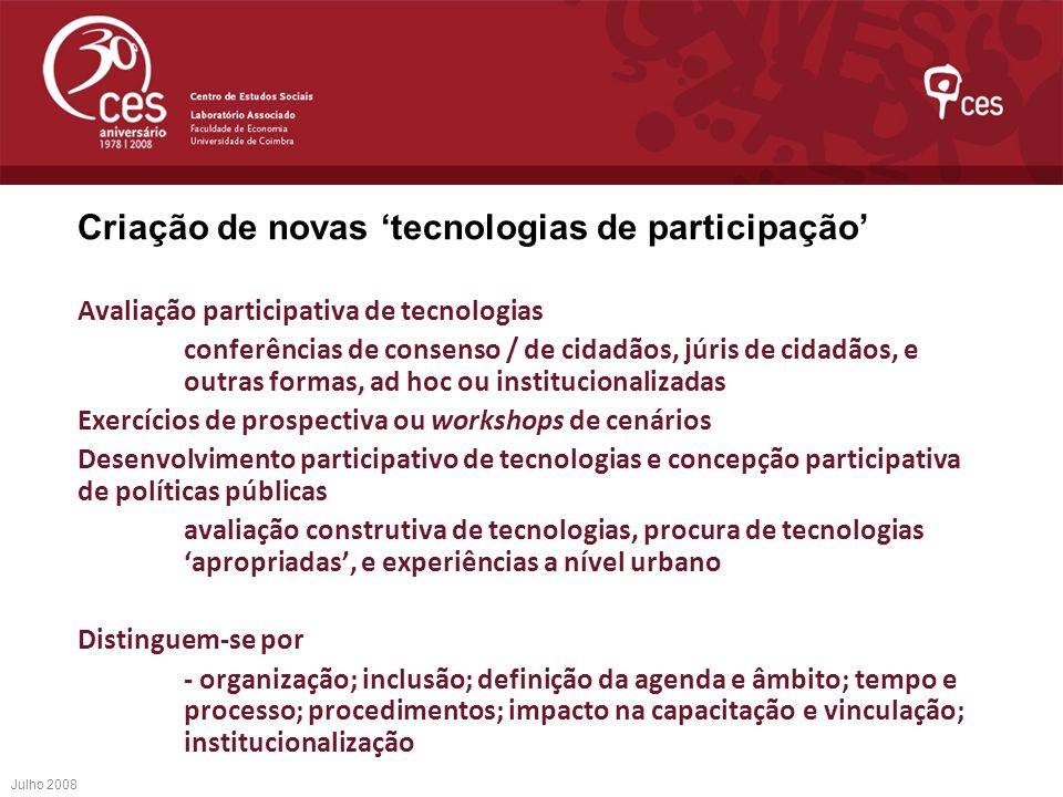 Criação de novas 'tecnologias de participação'