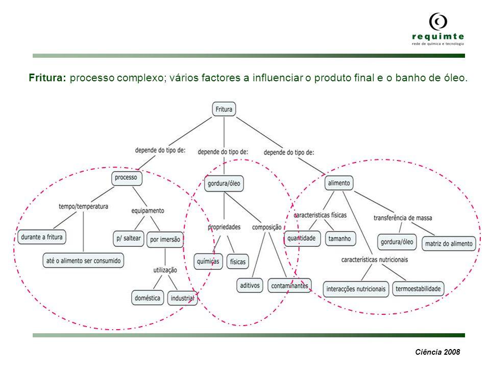 Fritura: processo complexo; vários factores a influenciar o produto final e o banho de óleo.