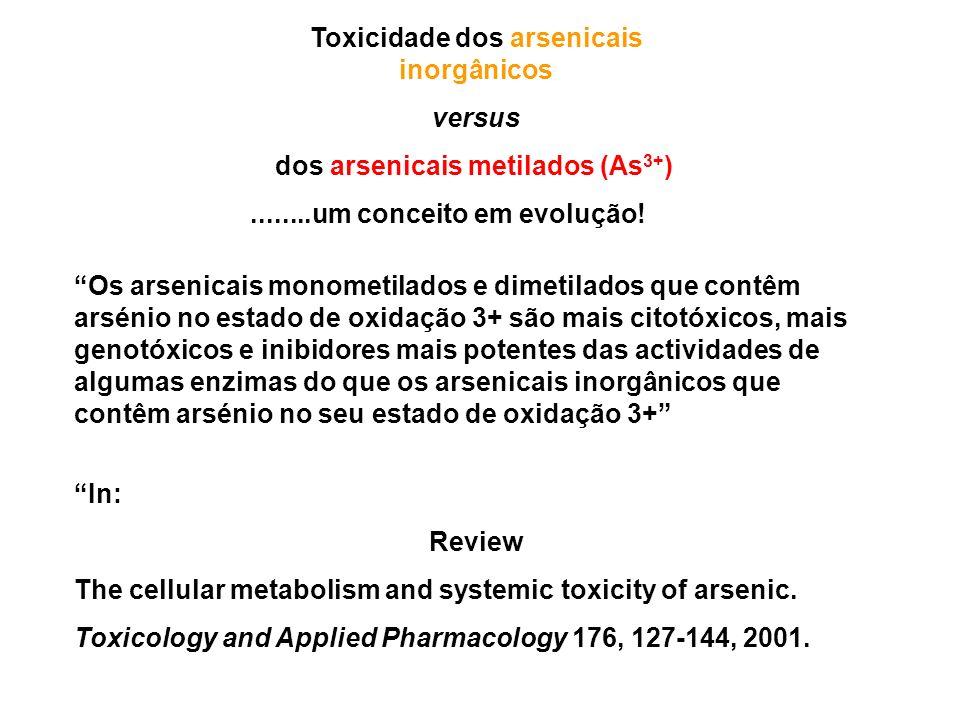 Toxicidade dos arsenicais inorgânicos dos arsenicais metilados (As3+)
