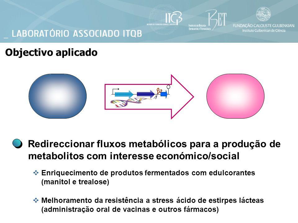Objectivo aplicado Redireccionar fluxos metabólicos para a produção de metabolitos com interesse económico/social.