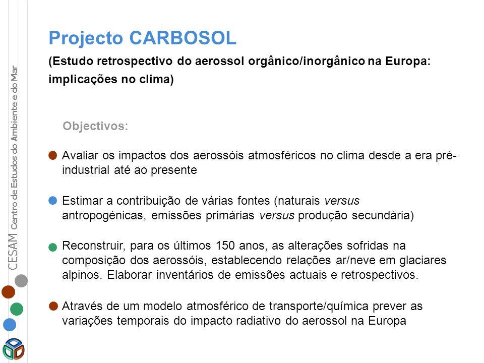 Projecto CARBOSOL (Estudo retrospectivo do aerossol orgânico/inorgânico na Europa: implicações no clima)