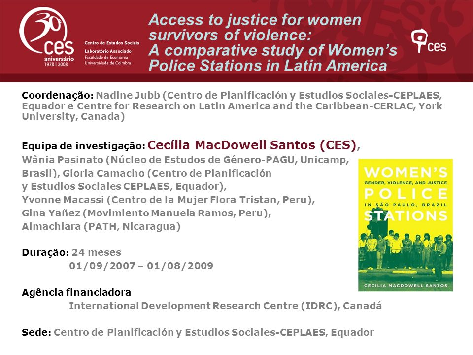 Access to justice for women survivors of violence: A comparative study of Women's Police Stations in Latin America