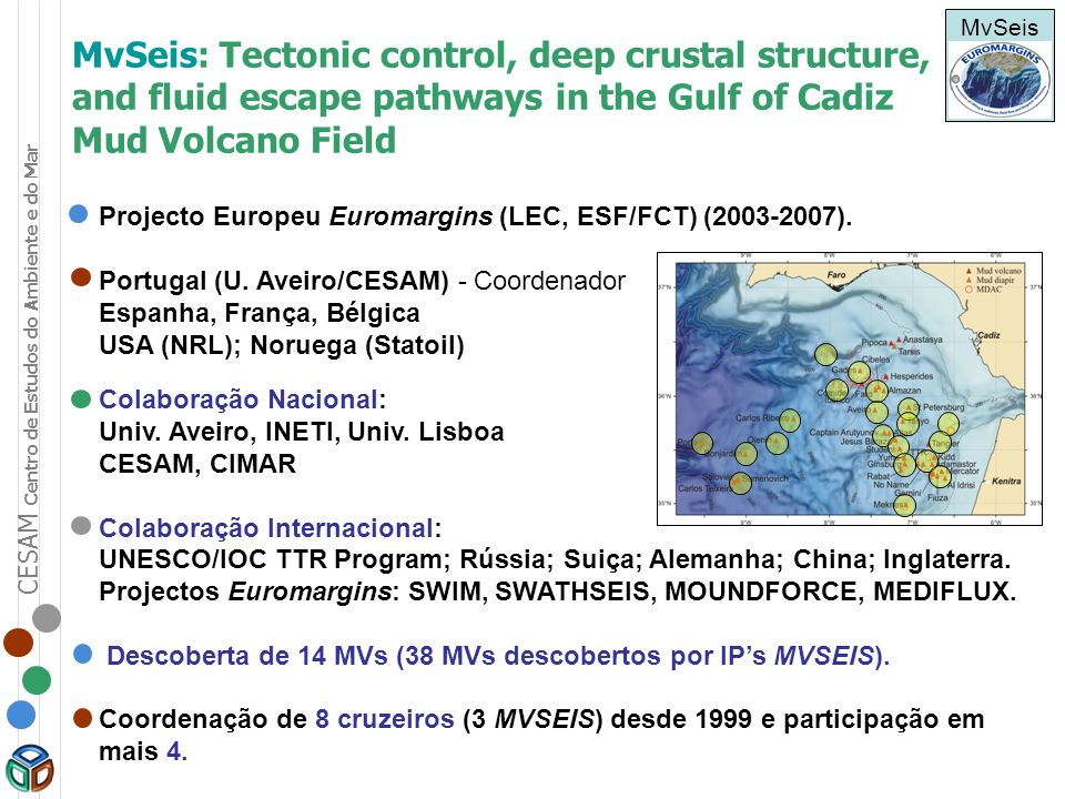 MvSeis MvSeis: Tectonic control, deep crustal structure, and fluid escape pathways in the Gulf of Cadiz Mud Volcano Field.