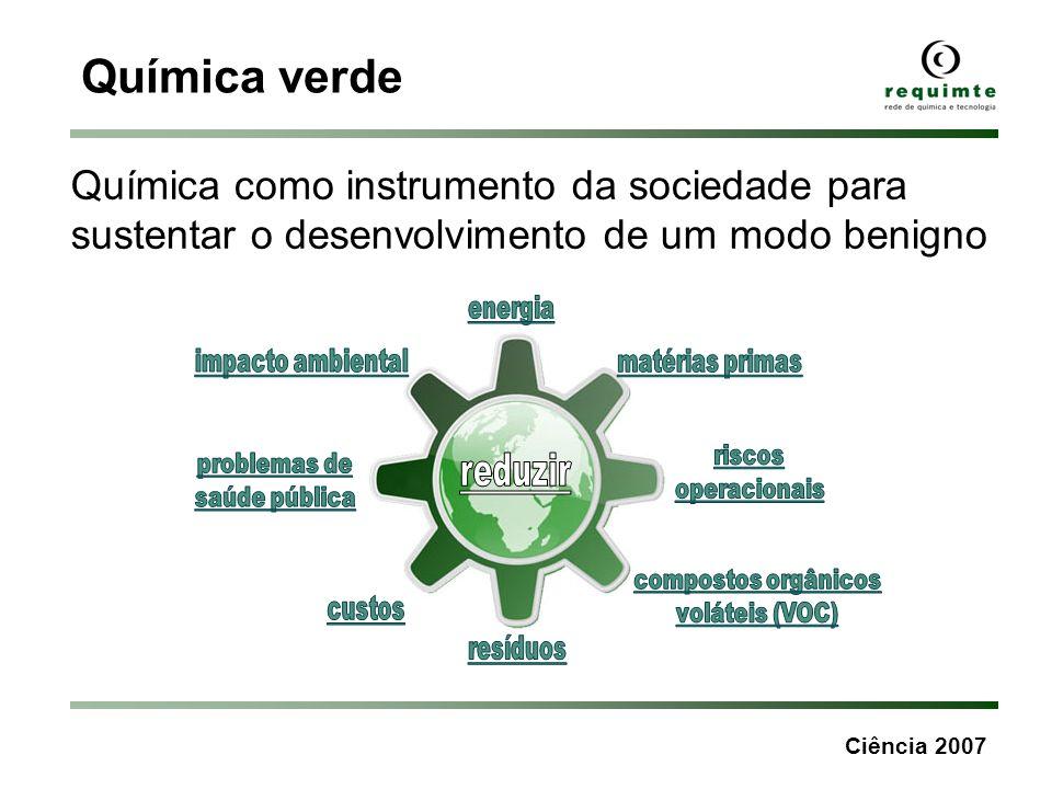 Química verde Química como instrumento da sociedade para sustentar o desenvolvimento de um modo benigno.
